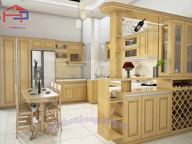 Làm tủ bếp bằng gỗ sồi nga