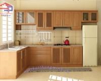 Mẫu tủ bếp gỗ sồi Nga chữ L của Hpro