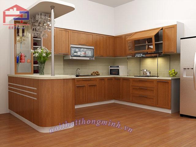 Mẫu tủ bếp gỗ sồi Nga chữ U