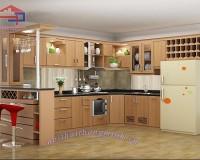Mẫu tủ bếp gỗ sồi Nga quầy - vách ngăn