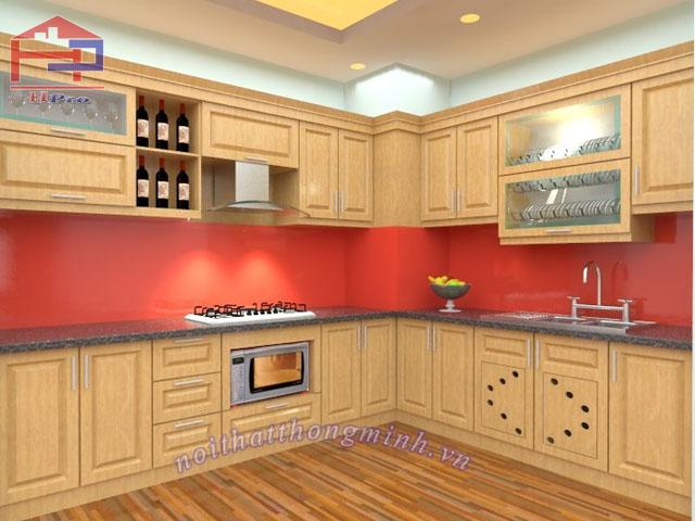 Tủ bếp gỗ sồi Nga 03