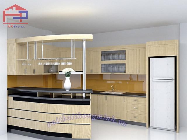 Tủ bếp gỗ sồi Nga trắng