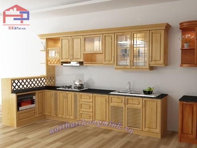 Tủ bếp gỗ sồi đẹp