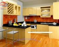Tủ bếp gỗ veneer sồi Nga