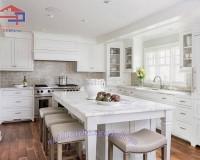 Tủ bếp gỗ sồi Nga sơn trắng