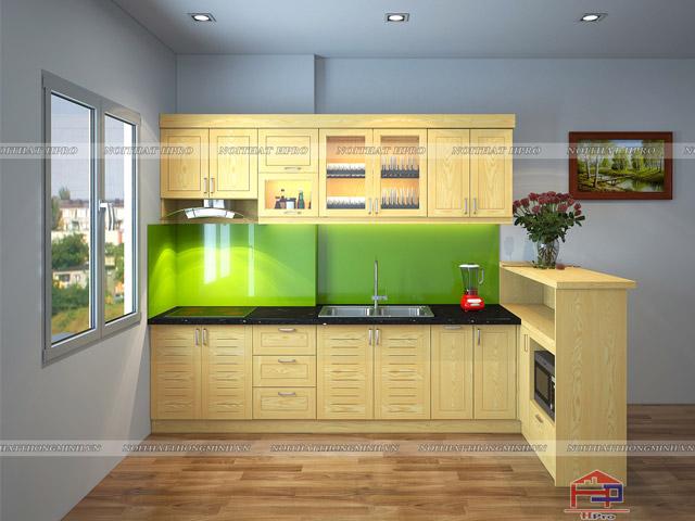 Bộ tủ bếp gỗ sồi nga theo kích thước tiêu chuẩn