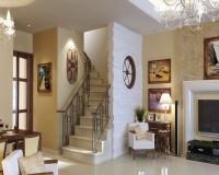 Vách ngăn phòng khách và cầu thang bằng thạch cao đẹp nghệ thuật